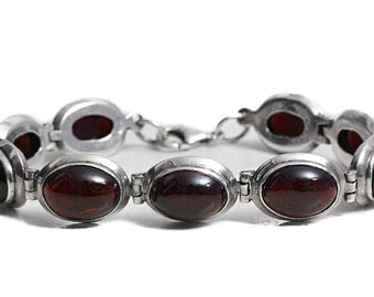 Red Cherry Tourmaline Bracelet Sterling Silver Natural Jewelry Artisan