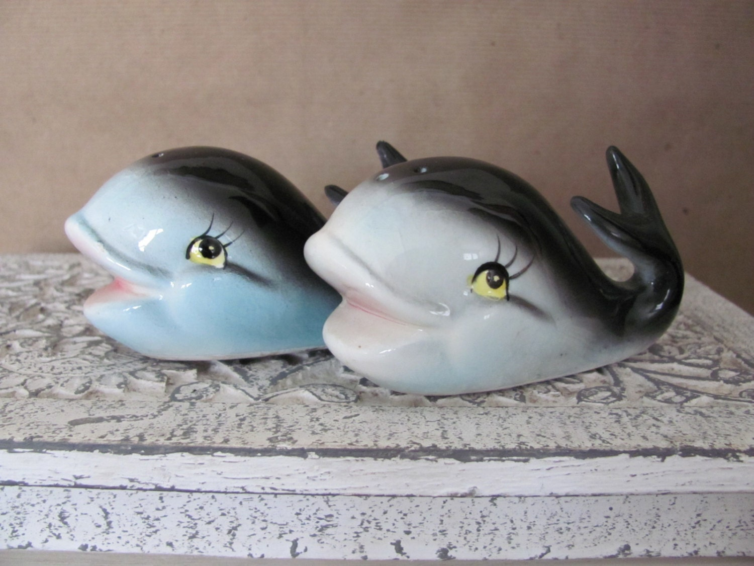 Vintage Whale Salt And Pepper Shakers 1960s Ceramic Whale