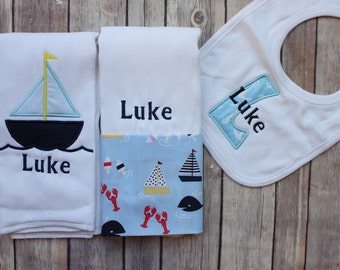 Baby Boy Burp Cloth - Monogrammed Baby Boy Gift - Personalized Bib - Sailboat Whales Nautical Personalized Burp Cloth Set