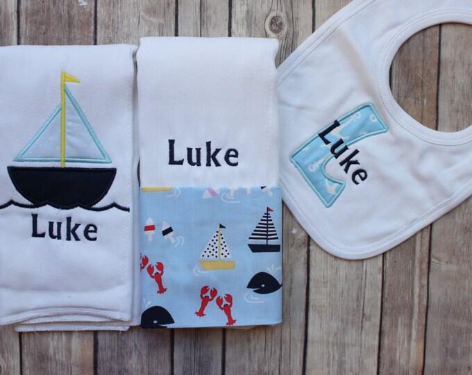 Baby Boy Burp Cloth - Monogrammed Baby Boy Gift - Personalized Bib - Sailboat Whales Nautical Personalized Burp Cloth Set