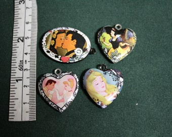 Disney Princess Locket set of four Snow White Sleeping Beauty Cinderella Jewelry supply necklace