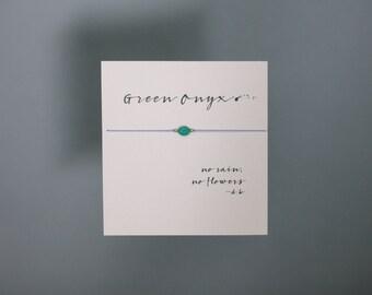 Friendship Bracelet - Green Onyx Friendship Bracelet on Silk with 14k gold filled beads - Lilac
