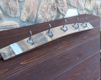 Wine Barrel Stave Coat Rack or Pot Rack