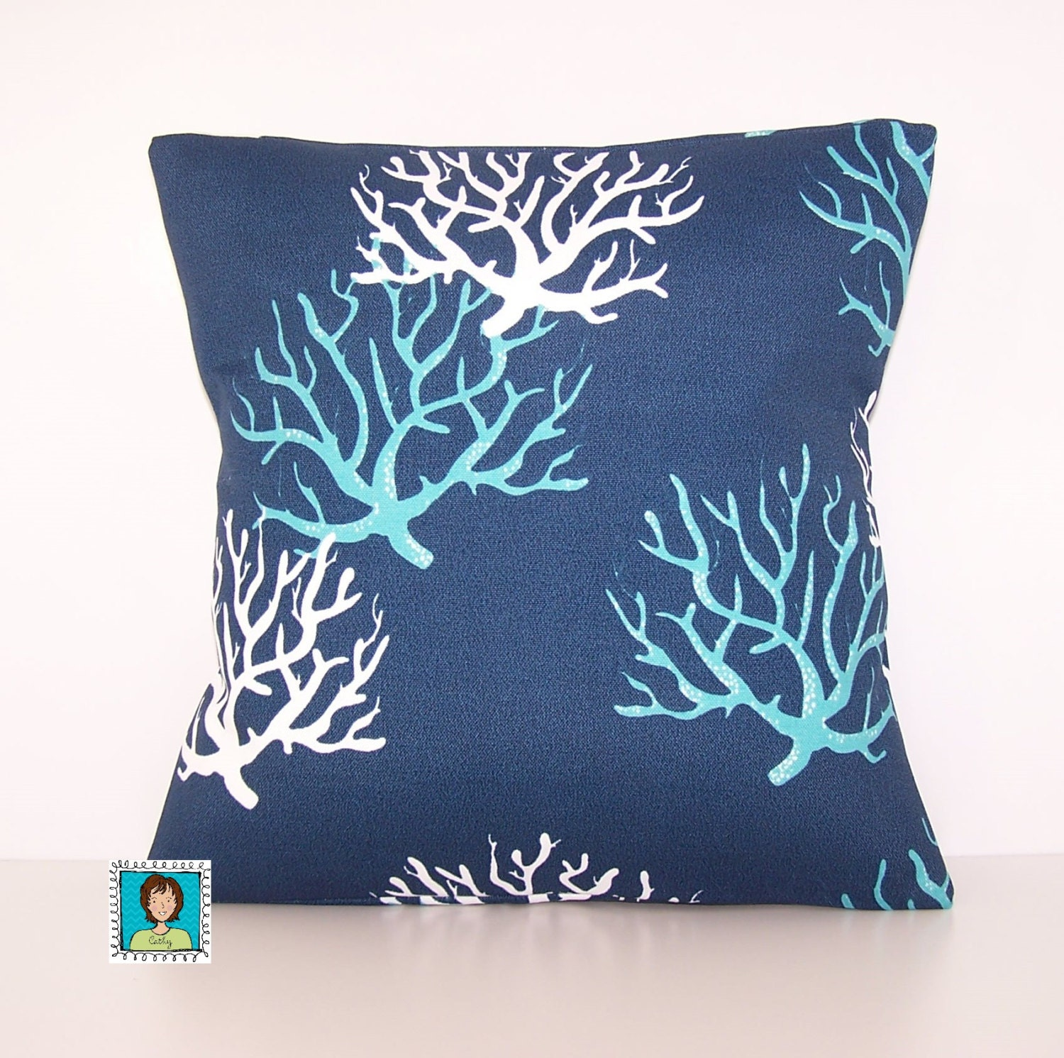 Navy and Turquose Coral Outdoor Pillow Dark Blue PILLOW