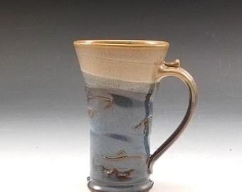 Handmade Pottery Salmon Decorated Mug Blue and Tan Stoneware by Mark Hudak