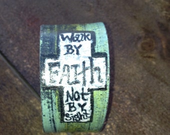 Custom made, hand painted leather cuff bracelet