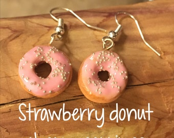 Strawberry Donut Charm Earrings