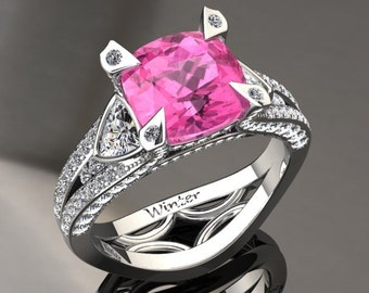 Pink Sapphire Engagement Ring Pink Sapphire Ring 14k or 18k White Gold Matching Wedding Band Available W31PKW