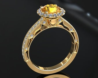 Yellow Sapphire Halo Engagement Ring Yellow Sapphire Ring 14k or 18k Yellow Gold Matching Wedding Band Available W23YSY