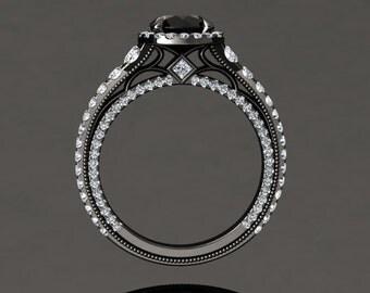 Natural Black Diamond Halo Engagement Ring Black Diamond Ring 14k or 18k Black Gold VS2BKDBK