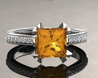 Yellow Sapphire Engagement Ring Princess Cut Yellow Sapphire Ring 14k or 18k White Gold Matching Wedding Band Available SW12YSW