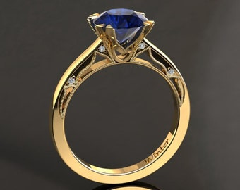Blue Sapphire Engagement Ring Blue Sapphire Ring 14k or 18k Yellow Gold Matching Wedding Band Available W22BUY
