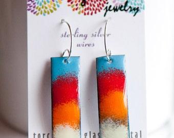 Bright Fun Bold Colorful Earrings, Modern Boho Jewelry, Handmade Enamel Jewelry, Unique Ear Wires, Torch Fired Enamel, Copper Enamel
