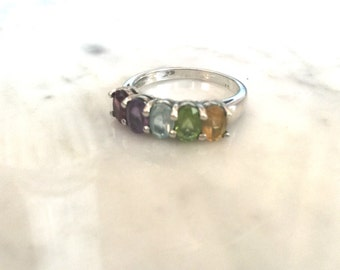 Vintage Sterling Silver Birthstone Ring