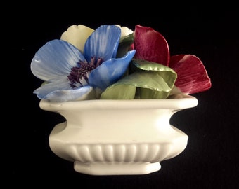 Crown Staffordshire China Vase of Pansies