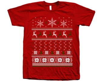 Christmas Ugly Sweater Men Graphic Tee Crew Neck American Apparel 100% Cotton Tshirt