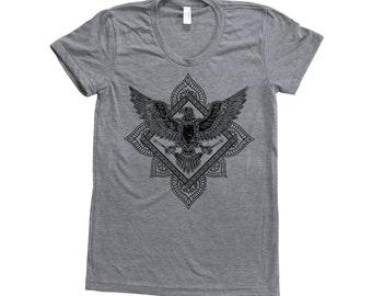 Bird Paisley Shirt Women Screen Print Short Sleeve Tshirt Available: S , M , L , XL