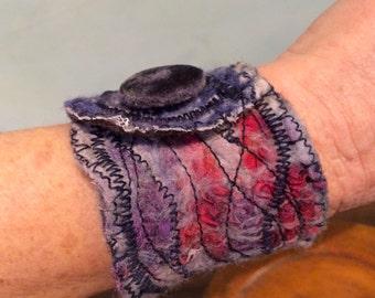 Nuno Felt Bracelet, Nuno Felt Cuff, Felted Clothing, Textile Jewelry, Felted Jewelry, Cloth Bracelet