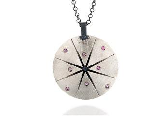 Long silver pendant necklace, statement necklace silver, diamond necklace, sterling silver pendant, oxidized sterling silver necklace