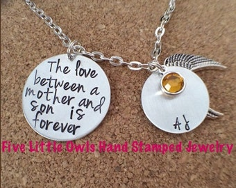 ON SALE Hand stamped the love between a mother and son is forever