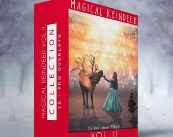 VOL II Magical Reindeer - 15 Transparent PNG Overlays
