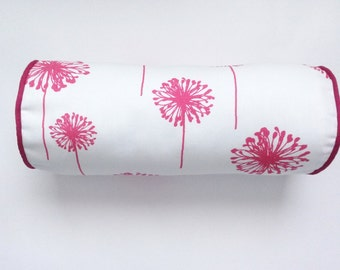 Dandelion Bolster Pillow Cover, Candy Pink/White Dandelion Bolster Pillow Cover, 6''x16''