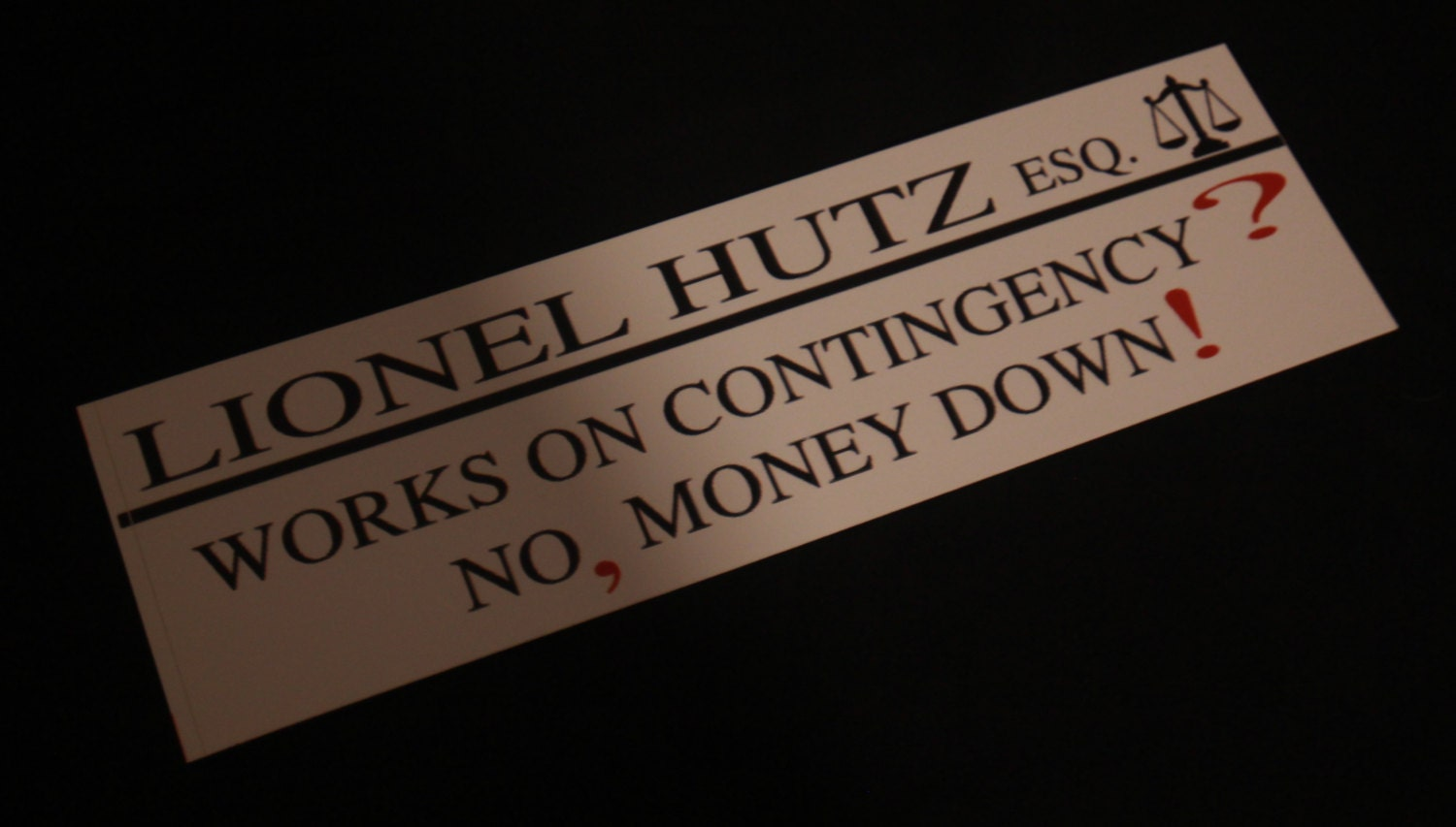 Lionel hutz bumper sticker 3 x 10 by thejhole on etsy for Lionel hutz business card