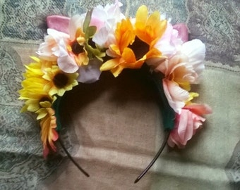 Flower Headband with Cat Ears