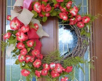 Wreaths - Summer wreaths - door wreath -Front door decor - Petunia wreath - burlap bow - Home decor - Red and white