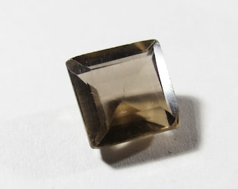 Natural 8.75mm Square Smokey Quartz Gemstone, Square Faceted Gemstone, Square Loose Smokey Quartz, Smokey Quartz Square Faceted Gemstone