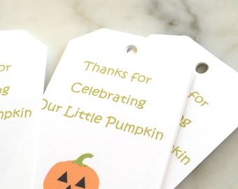 Pumpkin Treat Tags - Fall Baby Shower Favor Tags