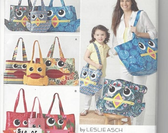 Simplicity 1631 sewing pattern Totes in 3 sizes by Leslie Asch c. 2013 UNCUT