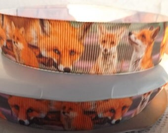 Fox ribbon Fox grosgrain ribbon 1 inch  fox printed ribbon