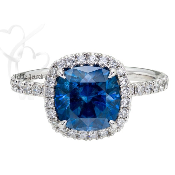 2 50ct Blue Sapphire & Fine Diamond Halo Engagement Ring with