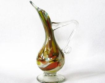 Yellow Brown Glass Pitcher Vase Hand Blown Artglass
