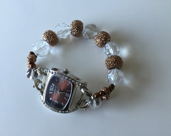 Double Stranded Lg/ Brown & Crystal Beaded Watch Band Set (228)