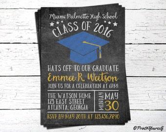 Graduation Invite // Personalized Printable Chalkboard Graduation Invitation // Class of 2016 Invite // Graduation Invitation