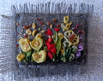 Embroidered brooch ,silk ribbon embroidery, hand embroidery,wildflowers