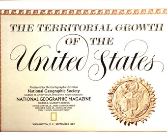 The Territorial Growth of the United States vintage map/ National Geographic/ Cartography/