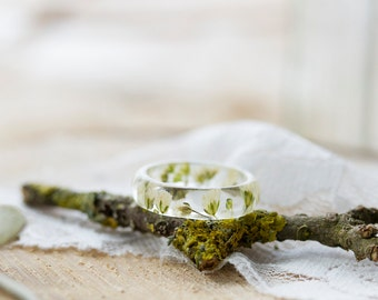 Real Flower Ring - White Gyp, Botanical Jewellery , Baby's Breath, Pressed Flower Ring , Nature Jewellery , Handcrafted Ring , Wedding Ring