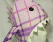 Shark Winter Hat, Christmas Gift, Winter, Stocking Stuffer, Matching Mittens, Matching Scarf, Warm, Purple, Plaid, Fins, Teeth