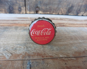 Drink Coca Cola Bottle Cap Knobs Red - Dresser Drawer Coke Pulls - Beach Nautical Shabby Chic Romantic Country