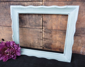 Hand Painted 10.5 x 12.5 Open Wood Frame with 8 x 10 opening ~ Distressed Duck Egg ~ Shabby Chic Farmhouse Home Decor