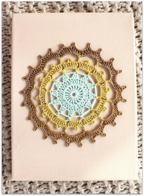 Wall Art Mandala, Crochet Wall Hanging, Wall Hanging Decor, Crochet Art on canvas, Nursery Decor