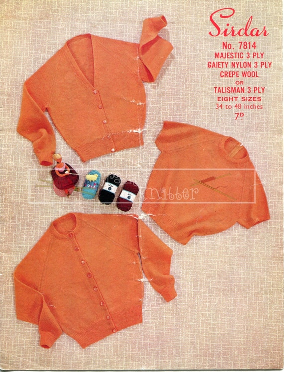 """Lady's Twin Set 34-48"""" 3-ply Sirdar 7814 Vintage Knitting Pattern PDF instant download"""