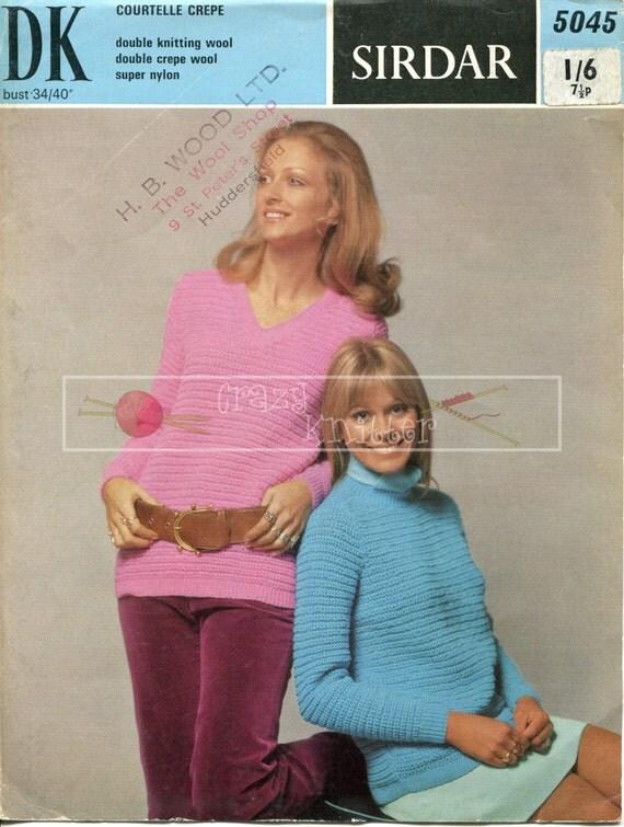 "Lady's Longline Sweater 34-40"" DK Sirdar 5274 Vintage Knitting Pattern PDF instant download"