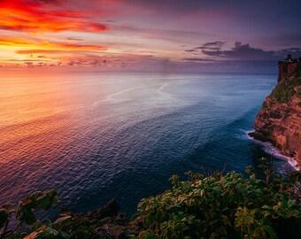 Uluwatu Temple Ocean Sunset Bali - Bali Photos - Travel Photography - Tropical decor - Ocean & Beach Decor - Large Wall Art