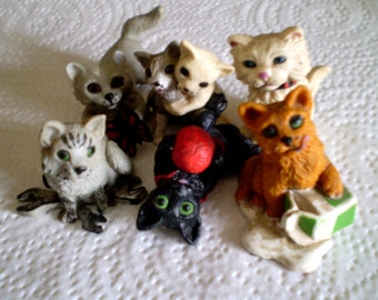 Vintage LITTLE CATS KITTENS For Fairy Gardens Dollhouse Diorama Display Lot of 6 Different Topps 1998 Mini Rubber Vinyl Cat Figurines