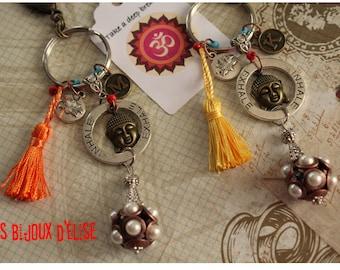 Sale - Personalized Inspire Expire Keychain Buddha Keychain Yellow Orange Yoga Bag Dangle Feng Shui
