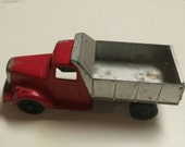 Die Cast Tootsie Red Dump Truck #24 Classic Toy Collectible with Original Wheels and Paint and Working Dump Gate